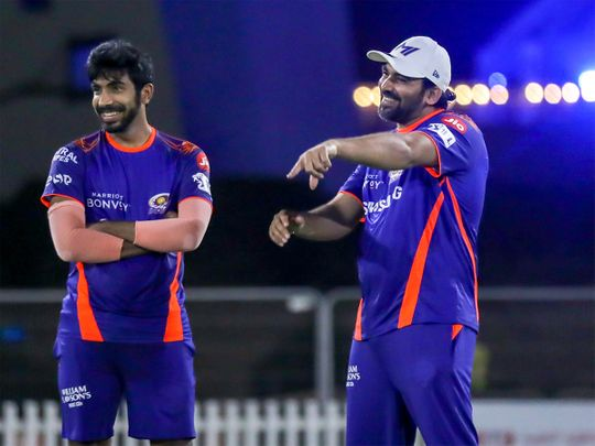 Jasprit Bumrah (left) with Zaheer Khan