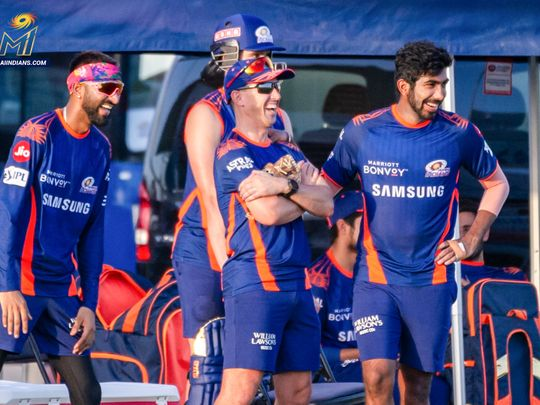 Mumbai Indians share a laugh during training in the UAE