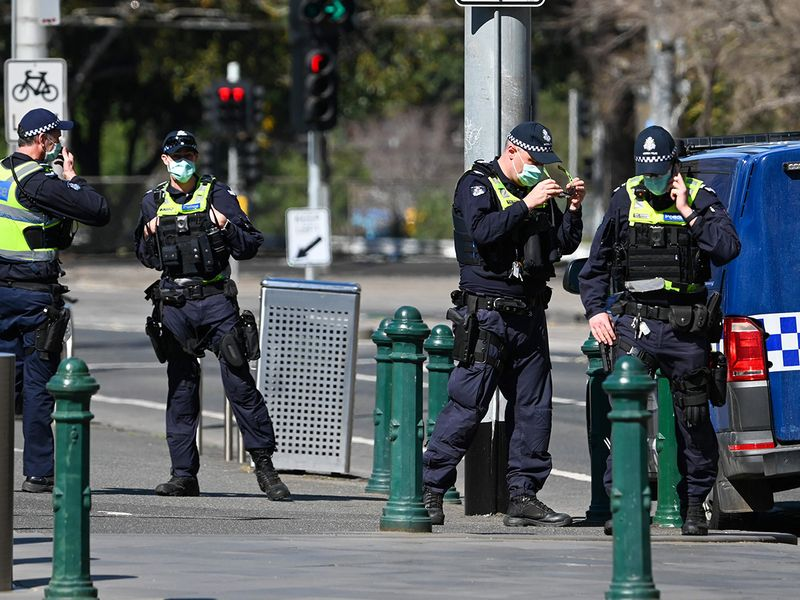 Police patrol on a street in Melbourne