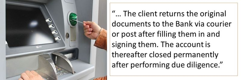 The client returns the original documents to the Bank via courier or post after filling them in and signing them.