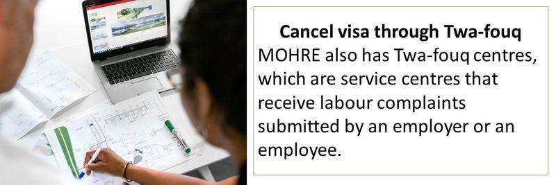 Cancel visa through Twa-fouq