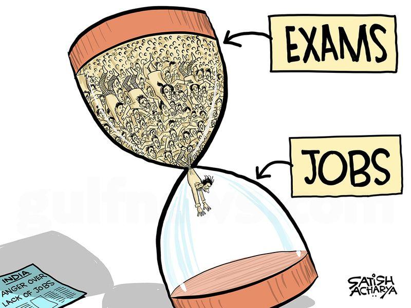 Cartoon from Satish Acharya: Anger mounts over India's shrinking jobs