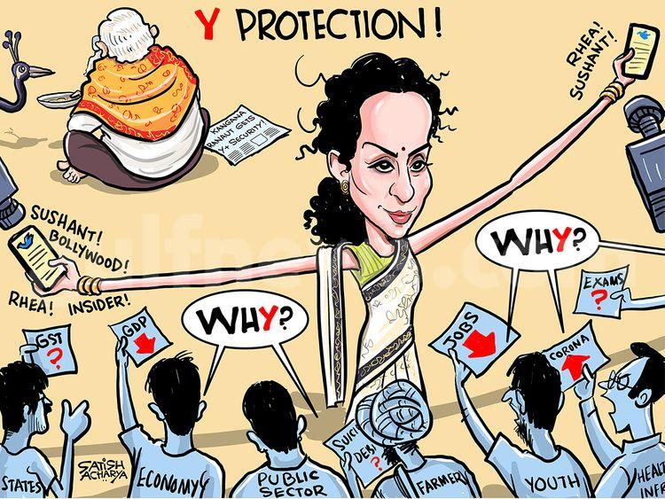 Cartoon From Satish Acharya Kangana Ranaut Gets Y Security Cartoons Gulf News