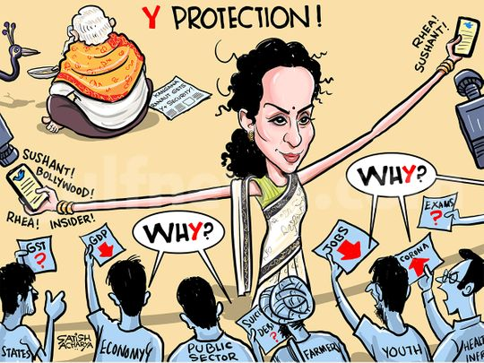 Cartoon from Satish Acharya: Kangana Ranaut gets Y+ security