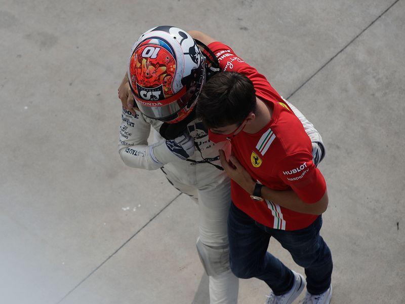 Charles Leclerc congratulates Italian Grand Prix winner Pierre Gasly