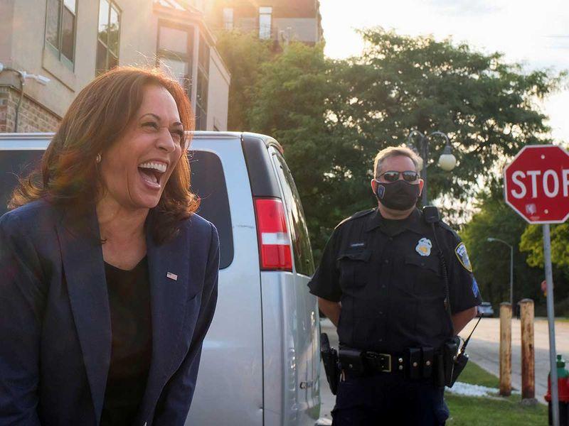 Democratic US vice-presidential nominee Kamala Harris