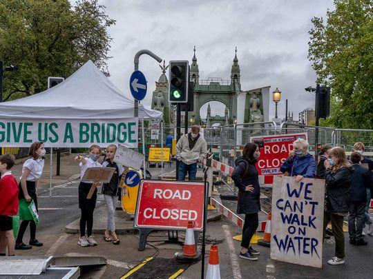 PROTEST Hammersmith Bridge in London