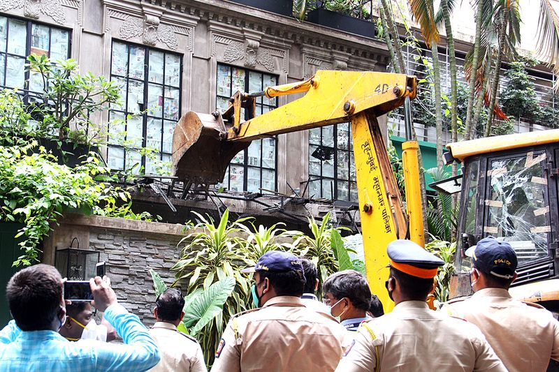 BMC officials carry out demolition at Kangana Ranaut's office.