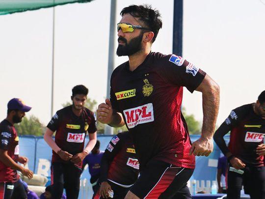 Kolkata Knight Riders captain Dinesh Karthik trains in the UAE.