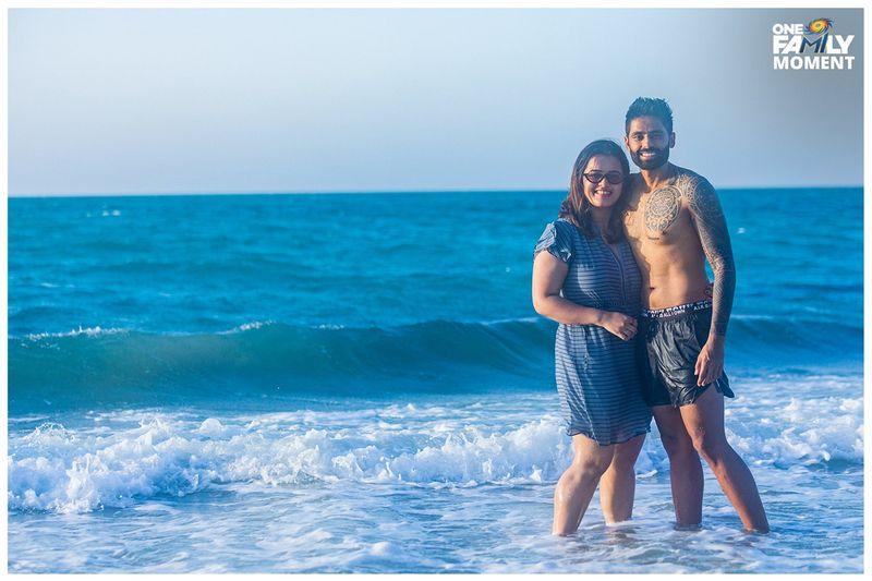 Mumbai Indians players at a UAE beach