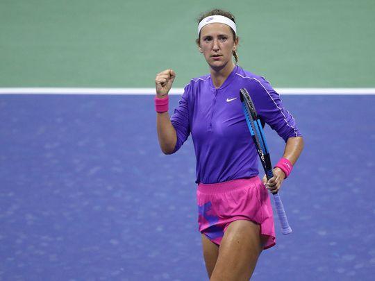 Victoria Azarenka celebrates against Elise Mertens at the US Open