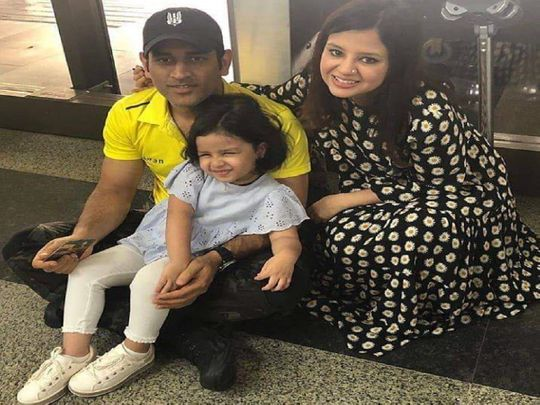 MS Dhoni with family