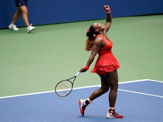 Serena Williamscelebrates during her match against Tsvetana Pironkovain the quarter-finals of the US Open.
