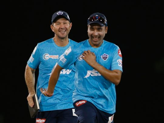 Delhi capitals Amit Mishra and coach Ricky Ponting enjoy the action at the Sevens in Dubai.