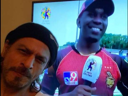 Shah Rukh Khan celebrates in front of his TV as Trinbago Knight Riders win the CPL 2020.