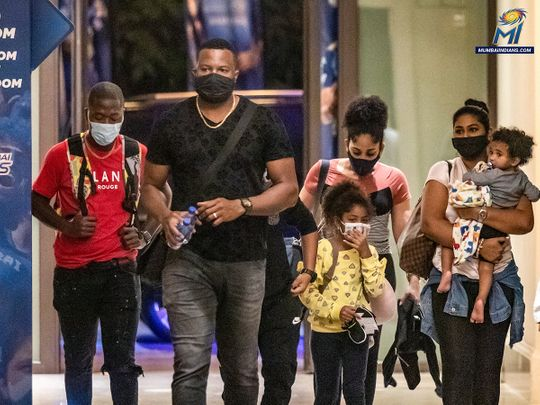 Kieron Pollard arrives in Abu Dhabi with his family.