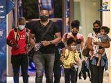 Kieron Pollard arrives in Abu Dhabi with his family.