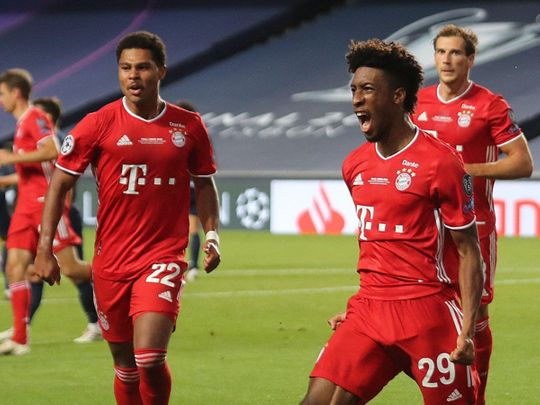 Kingsley Coman celebrates his winner for Bayern Munich against Paris St-Germain in the Champions League final