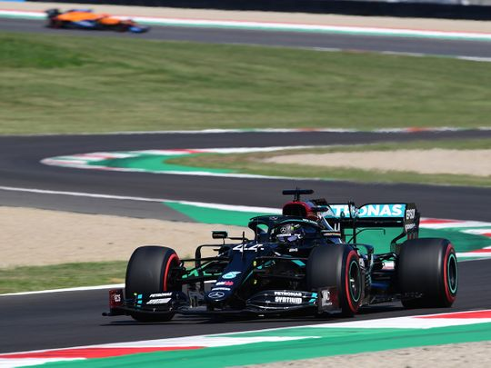 Lewis Hamilton on his way to pole position in the Tusan Grand Prix