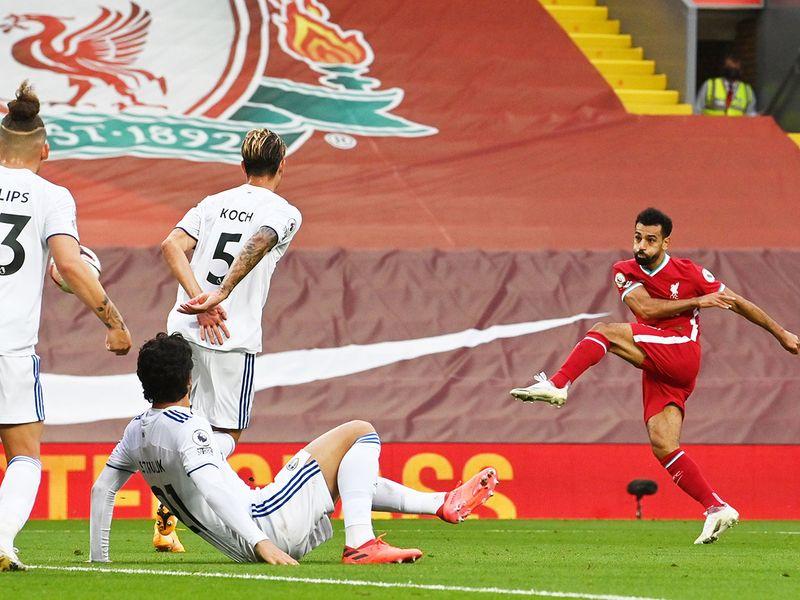 Liverpool's Mo Salah fires home against Leeds