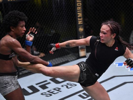 A bruised Michelle Waterson defeated Angela Hill
