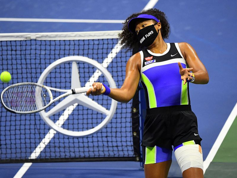 Japan's Naomi Osaka wears a George Floyd mask at the US OPen