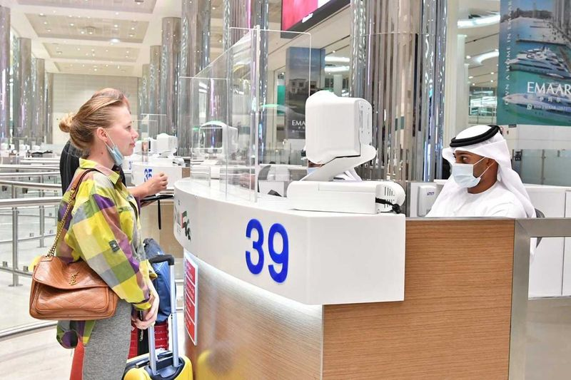 Russian tourists at Dubai International Airport