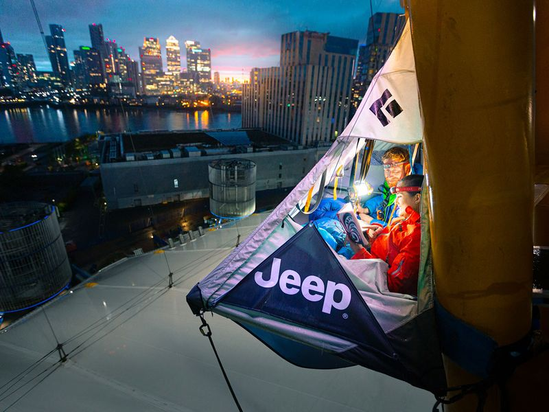 Extreme staycation! Jeep's hanging tent on London's O2