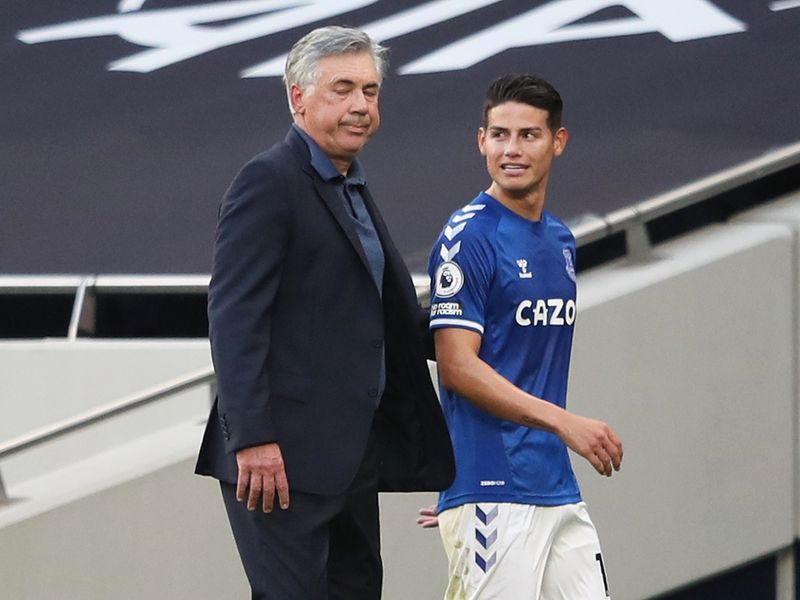 Everton's Carlo Ancelotti and new signing James Rodriguez