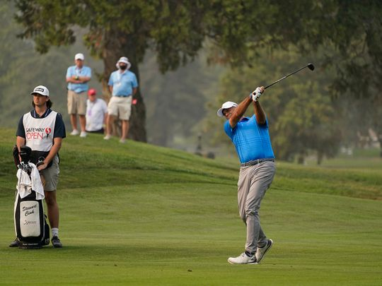 Stewart Cink in action at the Silverado Resort North Course during the final round of the Safeway Open