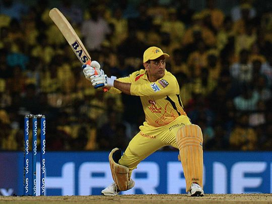 Chennai Super Kings cricket captain Mahendra Singh Dhoni plays a shot during the 2019 Indian Premier League (IPL)