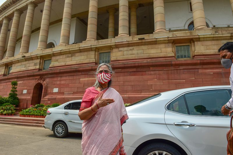 New Delhi: Rajya Sabha MP Jaya Bachchan at Parliament House during ongoing Monsoon Session, in New Delhi, Tuesday, Sept. 15, 2020