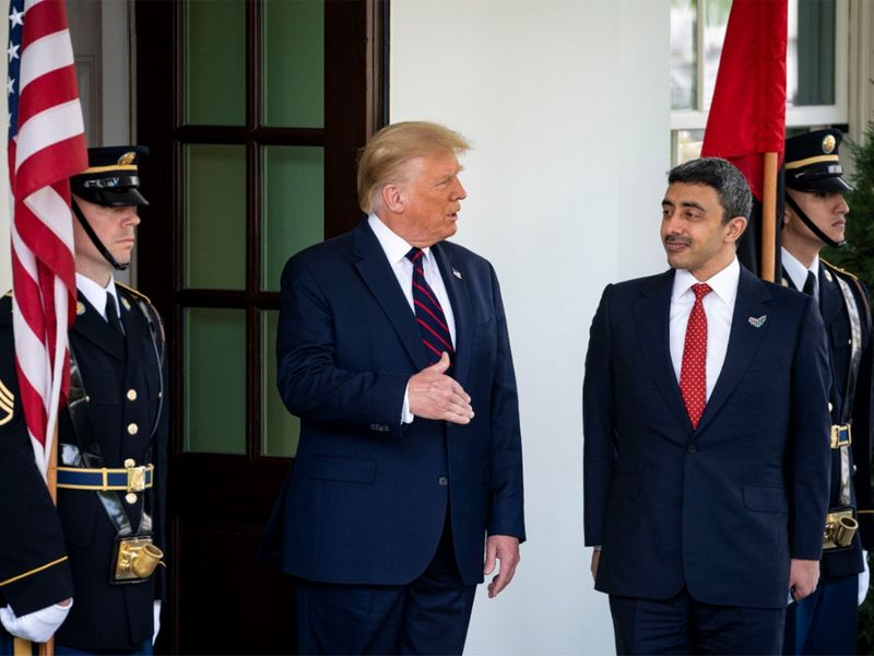 US President Donald Trump welcomes Sheikh Abdullah Bin Zayed Al Nahya