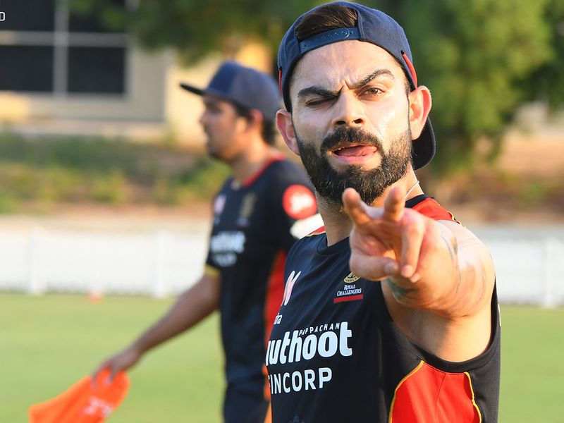 Virat Kohli has an air of relaxed confidence during training for Royal Challengers Bangalore