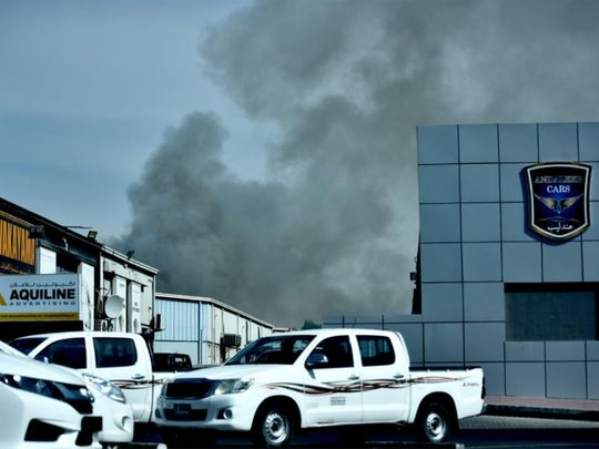 A fire erupted at Al Quoz Industrial area.
