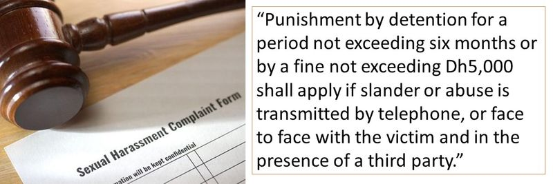 """""""Punishment by detention for a period not exceeding six months or by a fine not exceeding Dh5,000 shall apply if slander or abuse is transmitted by telephone, or face to face with the victim and in the presence of a third party."""""""