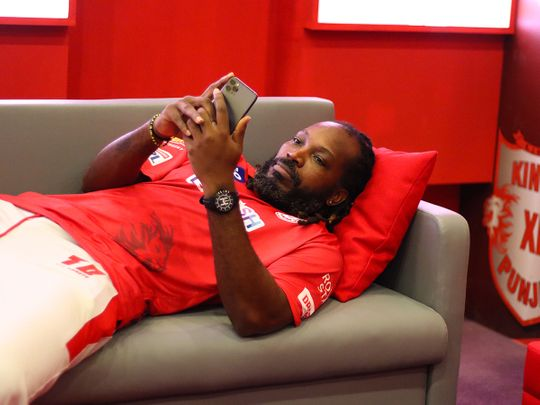Chris Gayle looks relaxed for Kings XI Punjab