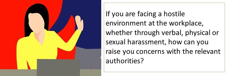 If you are verbal, physical or sexual harassment, how can you raise you concerns with the relevant authorities?