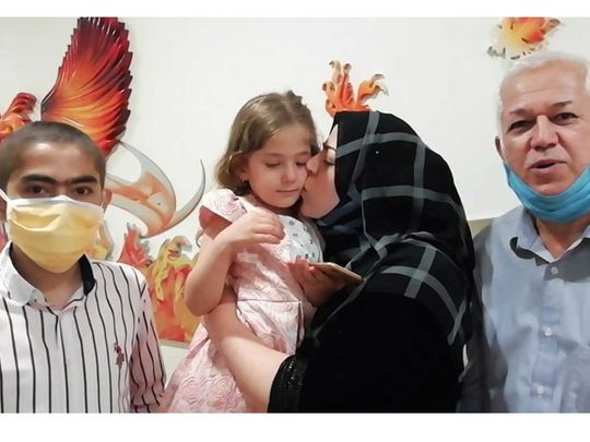 Ahmed with family after the transplantation Manipal India bone marrow