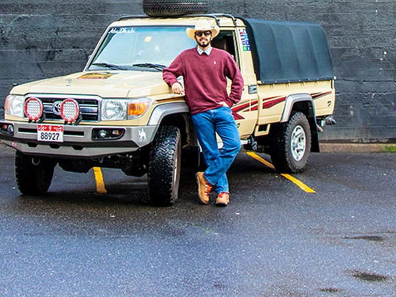 Young Emirati travels across US in a 4X4 with Abu Dhabi number plate