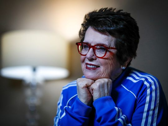 Billy Jean King is seen during an interview behind the scenes of Fed Cup Finals 2020