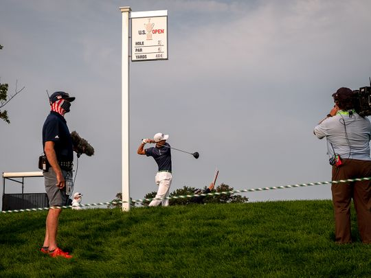 Justin Thomas hits off the tee on Day 1 of the US Open at Winged Foot.