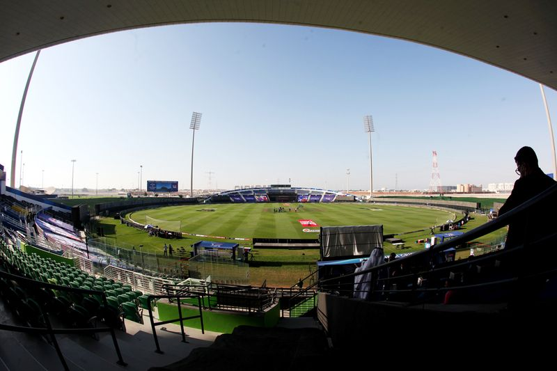 A view of ground at the Sheikh Zayed Stadium in Abu Dhabi as the match progressing.
