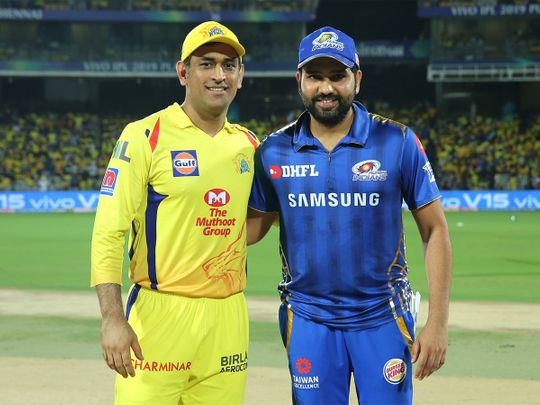 Chennai Super Kings' captain Mahendra Singh Dhoni with Mumbai Indians' captain Rohit Sharma during the toss.