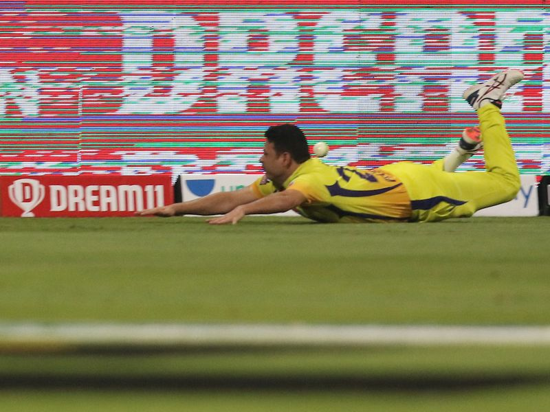 Chennai's Piyush Chawla was doing his bit to keep the score down against Mumbai in Abu Dhabi.