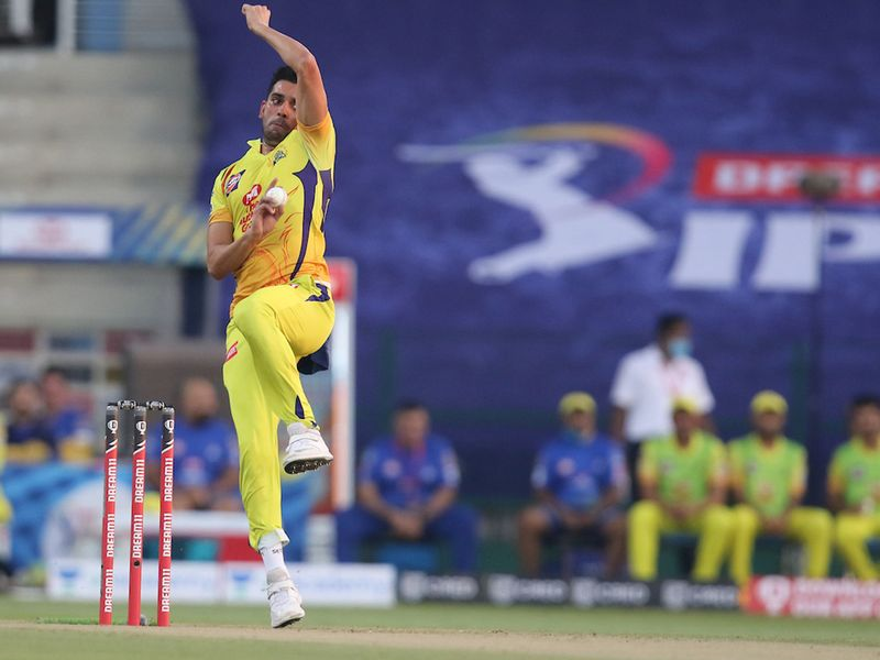 Deepak Chahar of the Chennai Superkings during match 1 of season 13 of the Dream 11 Indian Premier League (IPL) between the Mumbai Indians and the Chennai Superkings held at the Sheikh Zayed Stadium, Abu Dhabi in the United Arab Emirates on the 19th September 2020.