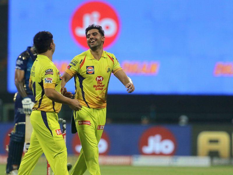 Deepak Chahar removed Mumbai's Surya Kumar Yadav before Saurabh Tiwary and Hardik Pandya began to pile on the runs.