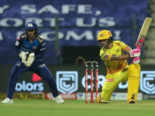 Faf du Plessis of Chennai Super Kings plays a shot.