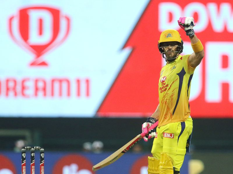 Faf du Plessis of Chennai Superkings raises his hand after scoring a fifty during match 1 of season 13 of the Dream 11 Indian Premier League (IPL) between the Mumbai Indians and the Chennai Superkings held at the Sheikh Zayed Stadium, Abu Dhabi in the United Arab Emirates on the 19th September 2020. Photo by: Vipin Pawar / Sportzpics for BCCI