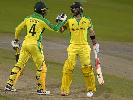 Glenn Maxwell and Alex Carey starred for Australia against England